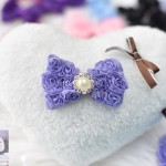 """3"""" LACEY ROSEY POSEY Bow Clip with PEARL/CRYSTAL Accent"""