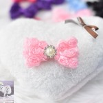 "3"" LACEY ROSEY POSEY Bow Clip with PEARL/CRYSTAL Accent"