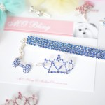 Dolce Collection Tiara Crown Hair Bling + Tweety Collection 4-Row Brilliant Bling Necklace in BLUE